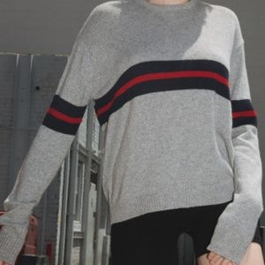 Brandy Melville Gray Striped Bernadette Sweater OS